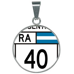 Argentina National Route 40 25mm Round Necklace