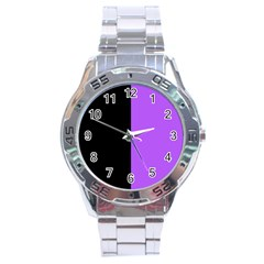 Black Purple Stainless Steel Analogue Watch