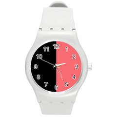 Black Red Round Plastic Sport Watch (m) by FEMCreations