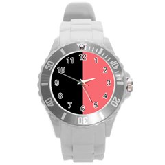 Black Red Round Plastic Sport Watch (l) by FEMCreations