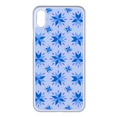 Blue Floral Apple Iphone Xs Max Seamless Case (white) by TimelessDesigns