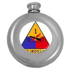U S  Army 1st Armored Division s Combat Service Identification Badge  Round Hip Flask (5 Oz) by abbeyz71