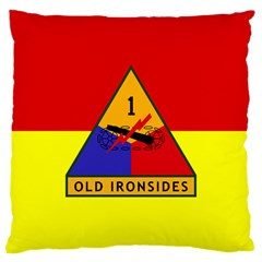 Flag Of U S  Army 1st Armored Division Large Cushion Case (one Side)