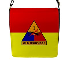 Flag Of U S  Army 1st Armored Division Flap Closure Messenger Bag (l)