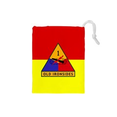 Flag Of U S  Army 1st Armored Division Drawstring Pouch (small)