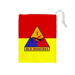 Flag Of U S  Army 1st Armored Division Drawstring Pouch (medium)