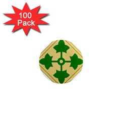 U S  Army 4th Infantry Division Shoulder Sleeve Insignia (1918–2015) 1  Mini Magnets (100 Pack)  by abbeyz71