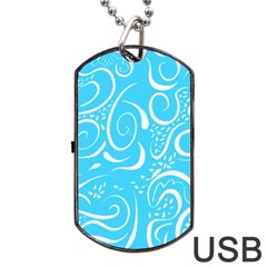 Blue Scribbles Dog Tag Usb Flash (two Sides)