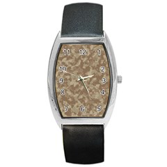 Camouflage In Brown Barrel Style Metal Watch