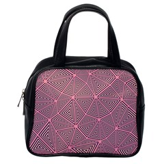 Chaos Of Triangles In Pink Classic Handbag (one Side) by TimelessFashion