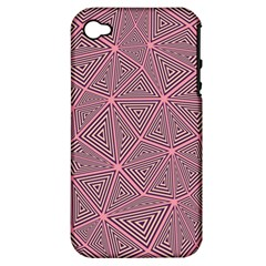 Chaos Of Triangles In Pink Apple Iphone 4/4s Hardshell Case (pc+silicone)