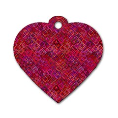 Cherry Squares Dog Tag Heart (one Side) by TimelessFashion