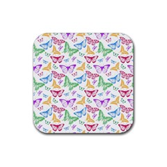 Colorfull Butterflies Rubber Coaster (square)
