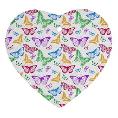 Colorfull Butterflies Heart Ornament (two Sides)