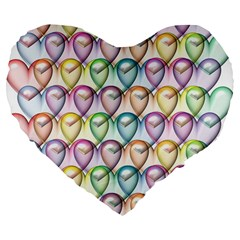 Colorfull Hearts Large 19  Premium Flano Heart Shape Cushions by FEMCreations