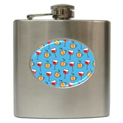 Cups And Glasses Blue Hip Flask (6 Oz)