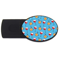 Cups And Glasses Blue Usb Flash Drive Oval (2 Gb)