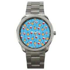 Cups And Glasses Blue Sport Metal Watch