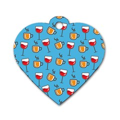 Cups And Glasses Blue Dog Tag Heart (one Side)