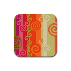 Curly Stripes Rubber Square Coaster (4 Pack)