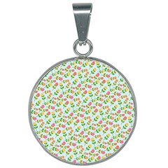Cute Flowers 25mm Round Necklace