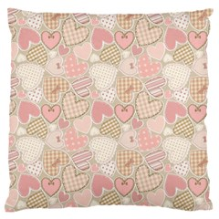 Cute Hearts Large Flano Cushion Case (two Sides)
