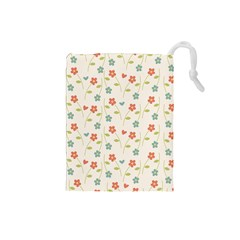 Cute Little Flowers Drawstring Pouch (small)