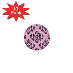Damask Black On Pink 1  Mini Buttons (10 Pack)