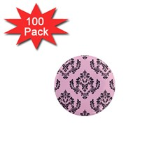 Damask Black On Pink 1  Mini Magnets (100 Pack)