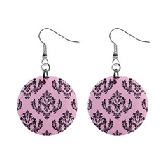 Damask Black On Pink Mini Button Earrings