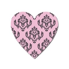 Damask Black On Pink Heart Magnet by TimelessDesigns