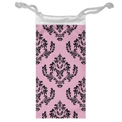 Damask Black On Pink Jewelry Bag