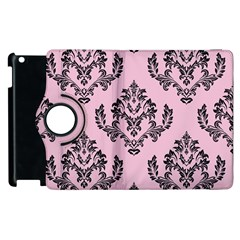 Damask Black On Pink Apple Ipad 3/4 Flip 360 Case