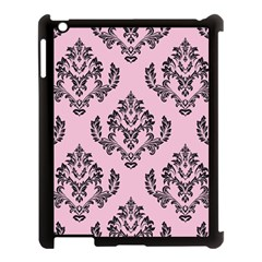 Damask Black On Pink Apple Ipad 3/4 Case (black)