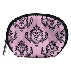 Damask Black On Pink Accessory Pouch (medium)
