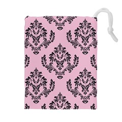 Damask Black On Pink Drawstring Pouch (xl) by TimelessFashion