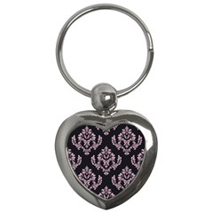 Damask Pink On Black Key Chains (heart)