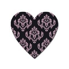 Damask Pink On Black Heart Magnet by TimelessDesigns