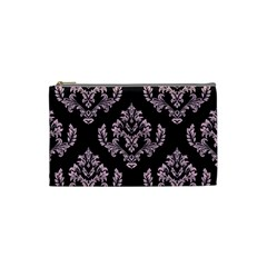 Damask Pink On Black Cosmetic Bag (small)