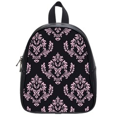 Damask Pink On Black School Bag (small) by TimelessFashion
