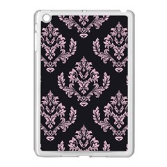 Damask Pink On Black Apple Ipad Mini Case (white)