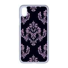 Damask Pink On Black Apple Iphone Xr Seamless Case (white)