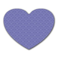Damask In Blue Heart Mousepads