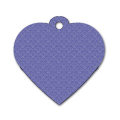 Damask In Blue Dog Tag Heart (two Sides) by TimelessFashion