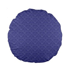 Damask In Blue Standard 15  Premium Round Cushions