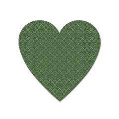 Damask In Green Heart Magnet by TimelessDesigns