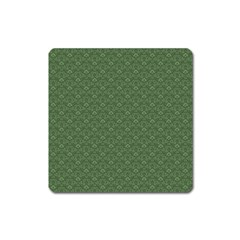 Damask In Green Square Magnet