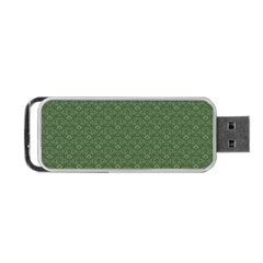 Damask In Green Portable Usb Flash (one Side) by TimelessDesigns