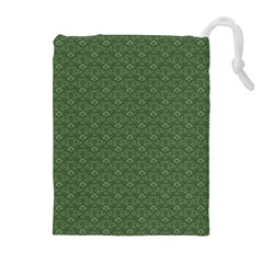 Damask In Green Drawstring Pouch (xl)