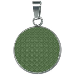 Damask In Green 20mm Round Necklace